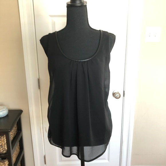 Banana Republic Tops - Black top with leather trim